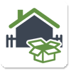 gray house with green roof icon