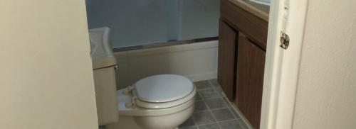 Bathroom shows white toilet, brown cabinets, and a tub/shower combo.
