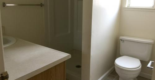 A bathroom with a white toilet, privacy wall, since and light countertops.